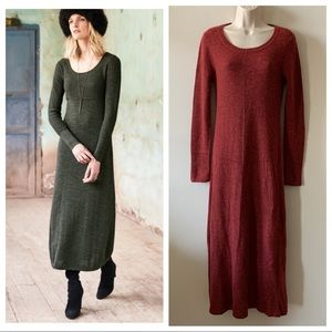 Peruvian Connection wine red alpaca knit dress